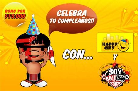 En el mes de Marzo SOYROJINEGRO.COM cumple 5 años! y desea celebrarlos con todos sus amigos!! Happy City te regala un Bono para que tu hijo(a)disfrute el día de tu cumpleaños..solo tienes que inscribirte!